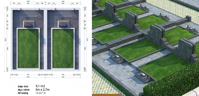 Khu mộ đôi thiết kế cao cấp tại dự án Sala Garden