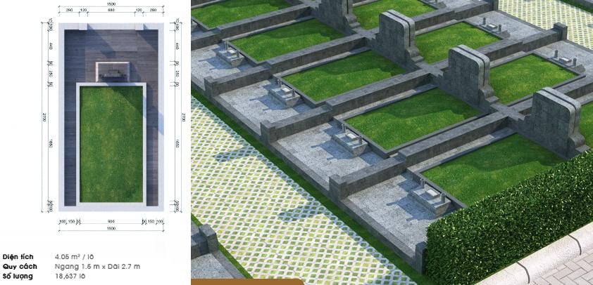 Thiết kế và phối cảnh mộ đơn hợp phong thủy