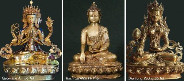 Ba tôn tượng được cung thỉnh từ Nepal