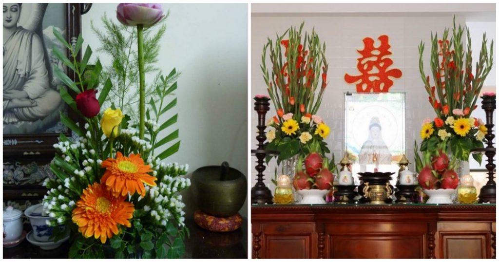 Hoa trang trí trên bàn thờ nên chọn loại có mùi thơm nhẹ nhàng để mang lại nhiều may mắn